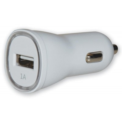 Charger 1p USB 5V 1Ah for Car Cigarette Lighters Socket White - Techly - IUSB2-CAR2-1A1P-0