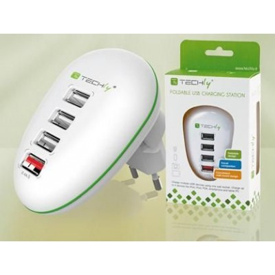 4-port USB Power Adapter 2.5A Smartphone / Tablet White - Techly - IPW-USB-4PWH-1