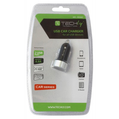 Car Charger 2p USB 5V with 4.8A output Black - Techly - IUSB2-CAR-ADP482-1