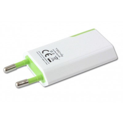 Compact Charger USB 1A European Plug White/Green - Techly - IPW-USB-ECWG-3