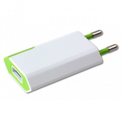 Compact Charger USB 1A European Plug White/Green - Techly - IPW-USB-ECWG-1