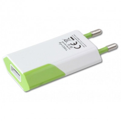 Compact Charger USB 1A European Plug White/Green - Techly - IPW-USB-ECWG-2