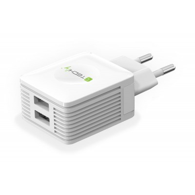 USB charger 2 outputs - Techly - IPW-USB-EC152W-1