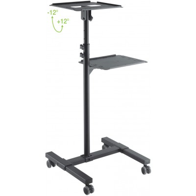 Universal Adjustable Trolley for Notebook Projector with Shelf Black - Techly - ICA-TB TPM-10-3