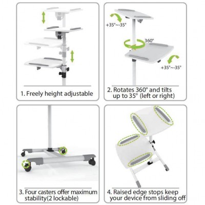 Trolley Support for Projector Beamer Notebook PC Adjustable Shelves - Techly - ICA-TB TPM-6-6