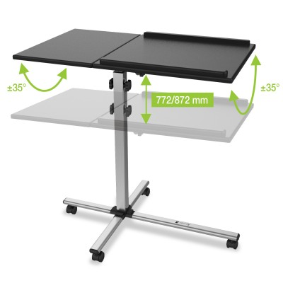 Height-Adjustable Two-Shelf Laptop and Projector Trolley - Techly - ICA-TB TPM-2-3