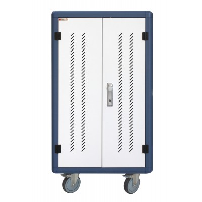 Ventilated USB Charging Station Trolley for 30 Notebook or Smartphone White/Blue - Techly Professional - I-CABINET-30DUTY-1