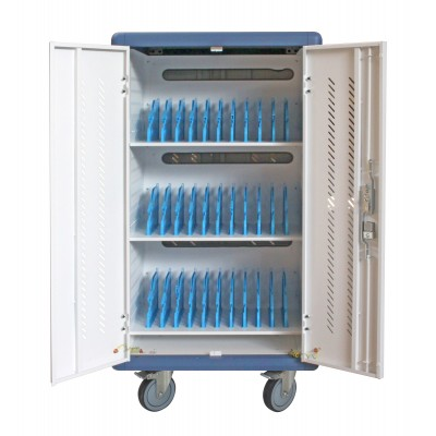 Ventilated Charging Station Trolley 30 Notebook or Smartphone White/Blue - Techly Professional - I-CABINET-30DTY-0