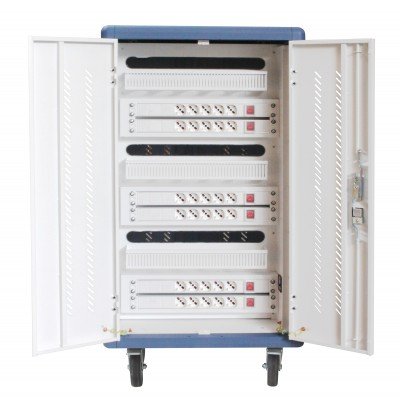 Ventilated Charging Station Trolley 30 Notebook or Smartphone White/Blue - Techly Professional - I-CABINET-30DTY-3