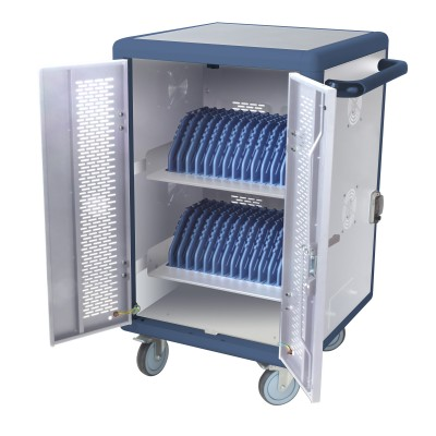 Ventilated Charging Station Trolley 30 Notebook or Smartphone White/Blue - Techly Professional - I-CABINET-30DTY-1