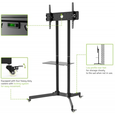 """Floor Trolley with Shelf Support LCD / LED / Plasma 30-65"""" - Techly - ICA-TR6-6"""