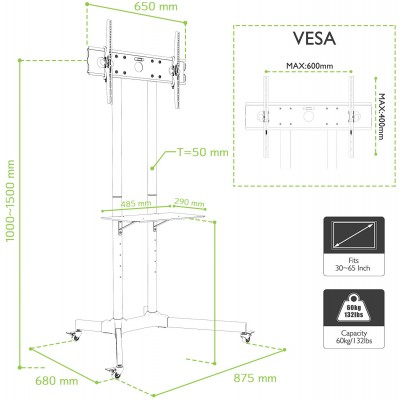 """Floor Trolley with Shelf Support LCD / LED / Plasma 30-65"""" - Techly - ICA-TR6-10"""