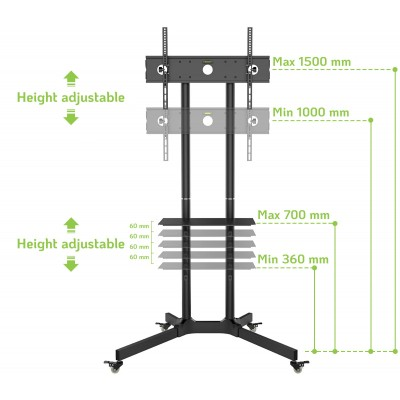 """Floor Trolley with Shelf Support LCD / LED / Plasma 30-65"""" - Techly - ICA-TR6-5"""