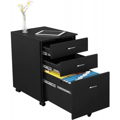 Chest with Three Drawers Desk, Graphite Black - Techly - ICA-FC 09BK-1