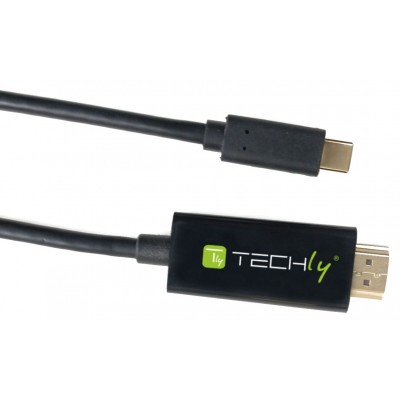 Adapter Cable USB-C™ Male to HDMI 2.0 4K Male 2m Black - Techly - IADAP USBC-HDMI2TY-1