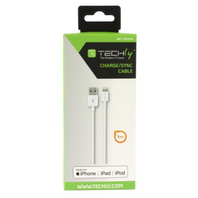 Lightning USB2.0 Cable to 8p 1m White - Techly - ICOC APP-8WHTY-1