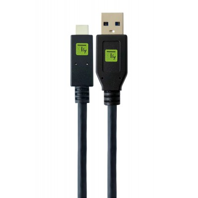 USB 3.1 A Male / USB-C™ Male Cable 1m Black - Techly - ICOC MUSB31-CMAM10T-1