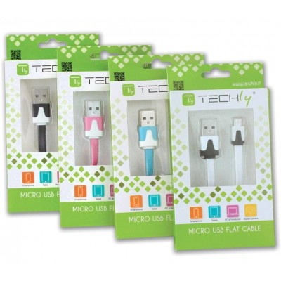 Flat Cable USB AM to Micro USB M Pink 1 m - Techly - ICOC MUSB-A-FLR-2