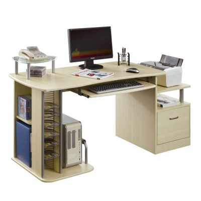 Multifunction Desk PC with Six Shelves, Maple - Techly - ICA-TB 202A-1