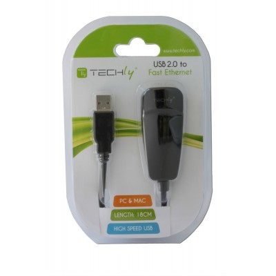 USB2.0 to Fast Ethernet Converter - Techly - IDATA ADAP-USB2TY-1