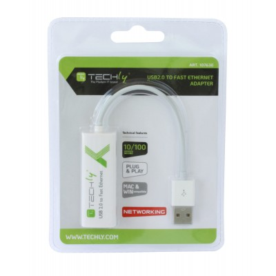 USB2.0 to Fast Ethernet 10/100 Mbps converter - Techly - IDATA ADAP-USB2TY2-1