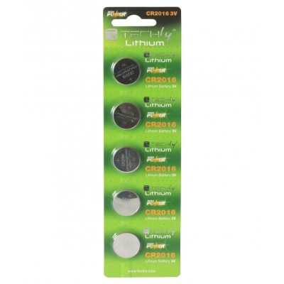 Button Lithium Battery CR2016 (set of 5 pcs) - Techly - IBT-KCR2016-0