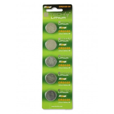 Lithium Button Batteries (set 5 pcs) CR2025 - Techly - IBT-KCR2025-1