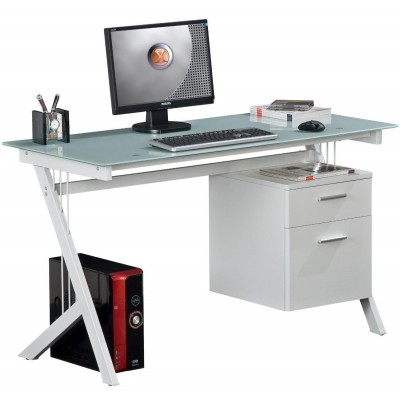 Pc Desk With Two Drawers In Stainless Steel And Tempered Glass