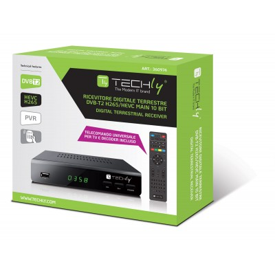 Decoder DVB-T2 H265 / HEVC 10bit Metal with Display - Techly - IDATA TV-DT2MB-1