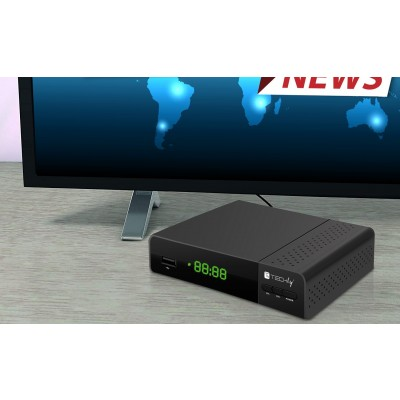 Decoder DVB-T/T2 H.265 HEVC 10bit Plastic with Display and 2 in 1 Universal Remote Control - Techly - IDATA TV-DT2PLB-6