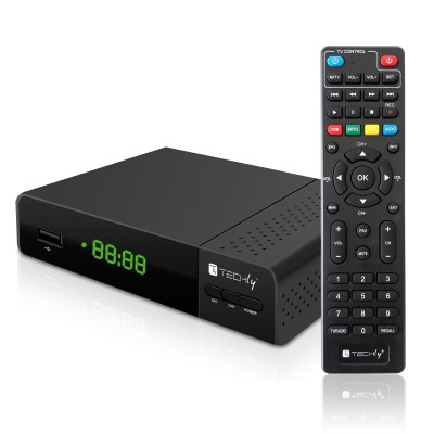 Decoder DVB-T/T2 H.265 HEVC 10bit Plastic with Display and 2 in 1 Universal Remote Control - Techly - IDATA TV-DT2PLB-1
