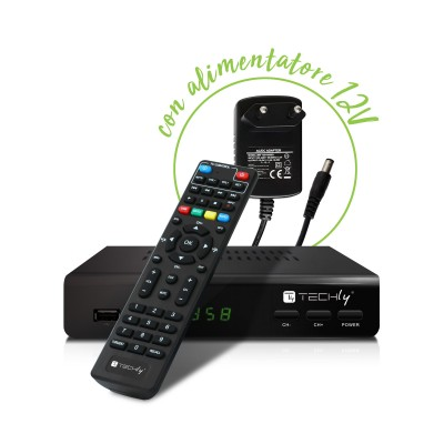 Decoder DVB-T/T2 H.265 HEVC 10bit Metal with 2 in 1 Universal Remote Control - Techly - IDATA TV-DT2MB-2