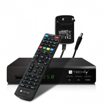 Decoder DVB-T/T2 H.265 HEVC 10bit Metal with 2 in 1 Universal Remote Control - Techly - IDATA TV-DT2MB-1