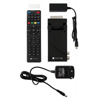 Mini Decoder Digital Terrestrial DVB-T/T2 H.265 HEVC 10bit USB HDMI Scart 180° with Display and 2 in 1 Universal Remote Control - Techly - IDATA TV-DT2SCA-11