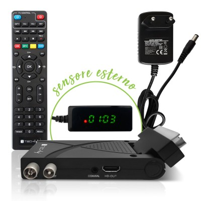 Mini Decoder Digital Terrestrial DVB-T/T2 H.265 HEVC 10bit USB HDMI Scart 180° with Display and 2 in 1 Universal Remote Control - Techly - IDATA TV-DT2SCA-1