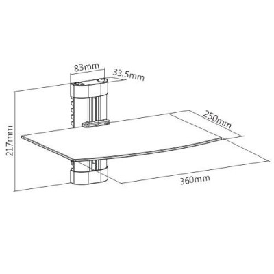 Glass Wall Shelf for Audio-Video Equipment - Techly - ICA-DRS 502TY-2