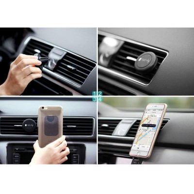 Car Universal Support with Magnets for Smartphone and Tablet Black - Techly - I-SMART-UNITY-10