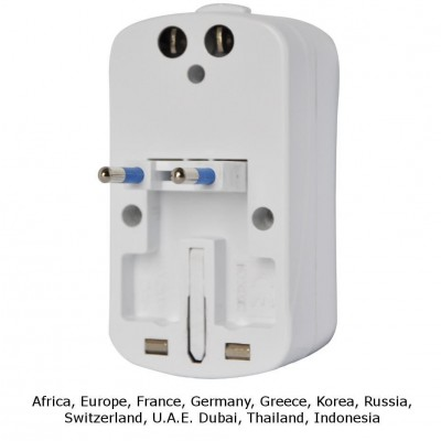 Universal Travel Adapter 2A for Electrical Sockets with 2 USB - Techly - IPW-ADAPTER6-3