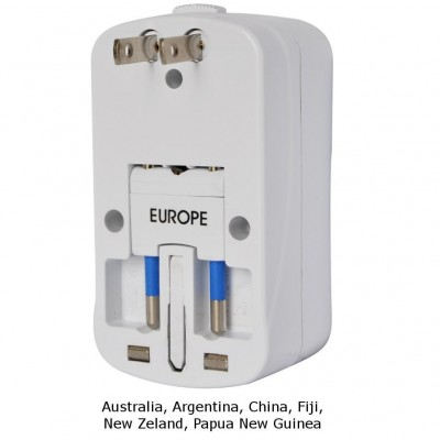 Universal Travel Adapter 2A for Electrical Sockets with 2 USB - Techly - IPW-ADAPTER6-4