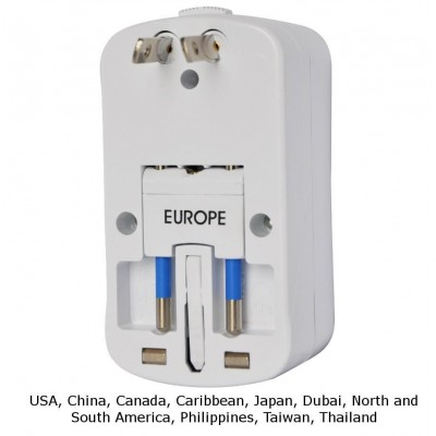 Universal Travel Adapter 2A for Electrical Sockets with 2 USB - Techly - IPW-ADAPTER6-5
