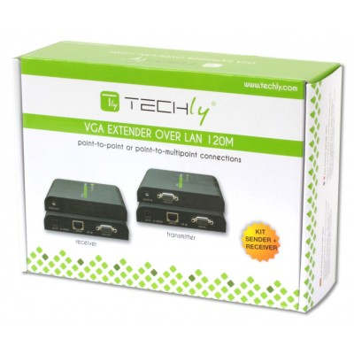 VGA Extender with Audio by Cat.5/5e/6 cable up to 120m - Techly - IDATA EXTIP-373V-1