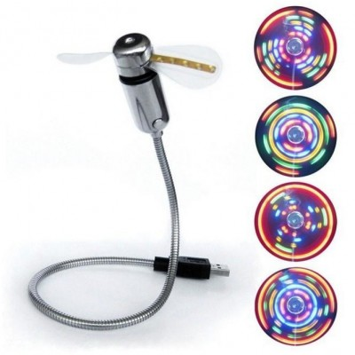 USB 2.0 Fan for Notebook with Coloured Message 5 LED - Techly - IUSB-FAN3-1