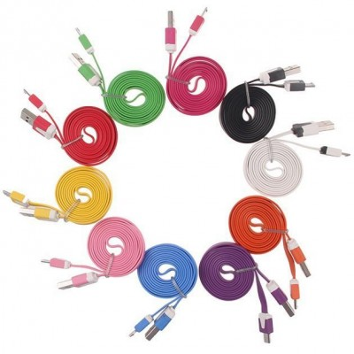 Flat Cable USB AM to Micro USB M Pink 1 m - Techly - ICOC MUSB-A-FLR-4