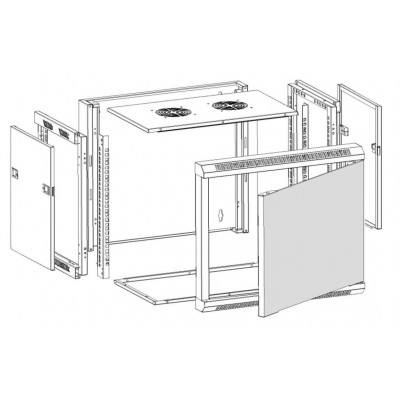 """Wall Rack Cabinet 19"""" D600 9 units to Assemble Black - Techly Professional - I-CASE FP-3009BKTY-10"""