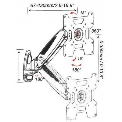 """Tilt Wall Mount with Gas Spring for TV 32-42"""" 430mm Black - Techly - ICA-LCD G201-BK-2"""