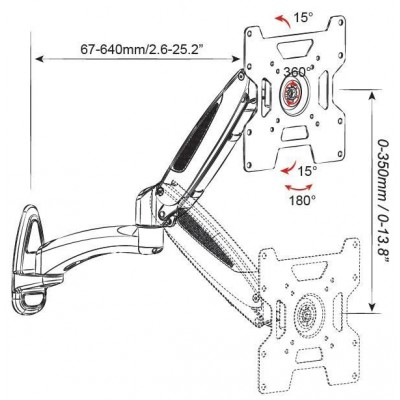 """Tilt Wall Mount with Gas Spring for TV 32-42"""" 640mm Black - Techly - ICA-LCD G202-BK-2"""
