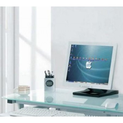 Compact Desk for PC Metal & Glass with Wheels - Techly - ICA-TB 3791A-4