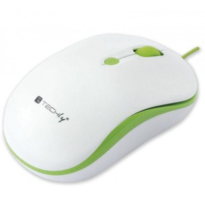 Optical Mouse 800-1600 dpi USB White / Green - Techly - IM 1600-WT-WG-1