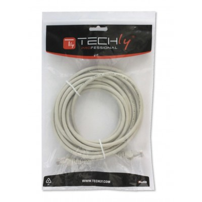 Network Patch Cable in CCA UTP Cat.6 0.25m Gray - Techly Professional - ICOC CCA6U-0025T-1