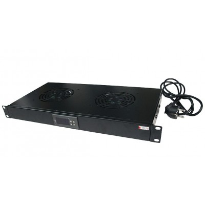 "2 Fans with LED Thermostat 1U Rack 19"" mount Black - Techly Professional - I-CASE FAN-TC2B-1"